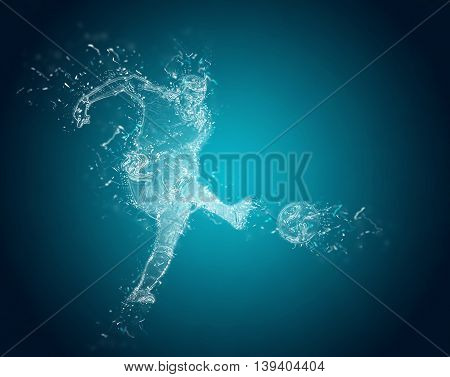 Abstract Football players in action. Crystal ice effect