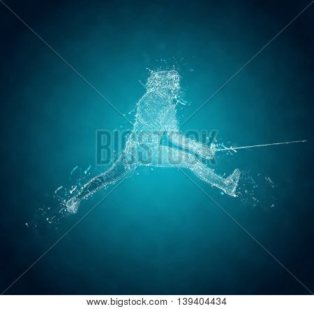 Abstract Sabre Fencer in action. Crystal ice effect