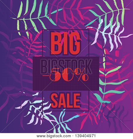 Summer sale poster, banner with tropical leaves. Vector summer illustration