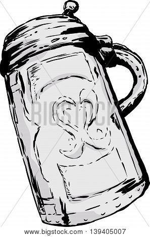 Antique German Tankard Drawing