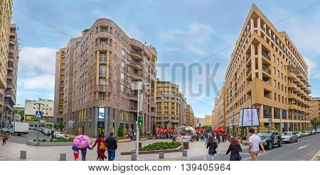 YEREVAN ARMENIA - MAY 29 2016: The architectural ensemble of Nothern Avenue - business and shopping center of the city on May 29 in Yerevan.