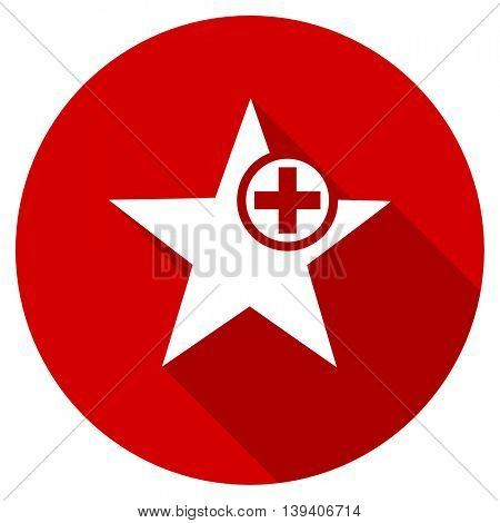 star red vector icon, circle flat design internet button, web and mobile app illustration