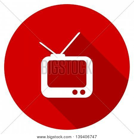 tv red vector icon, circle flat design internet button, web and mobile app illustration