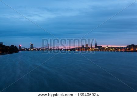 Colorful sunset over city of Riga, Latvia