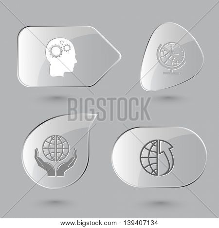 4 images: human brain, globe and clock, protection world, array up. Business set. Glass buttons on gray background. Vector icons.