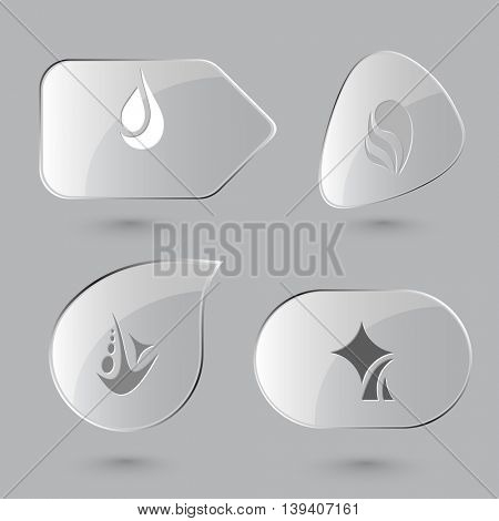 4 images of unique abstract forms. Glass buttons on gray background. Vector icons set.