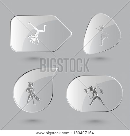 4 images: dancing ethnic little man, as yogi, with trumpet, with fire poi. Ethnic set. Glass buttons on gray background. Vector icons.