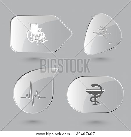 4 images: invalid chair, jumping girl, cardiogram, pharma symbol. Medical set. Glass buttons on gray background. Vector icons.