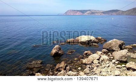 Summer landscape of mountains and beaches in the sunny Crimea