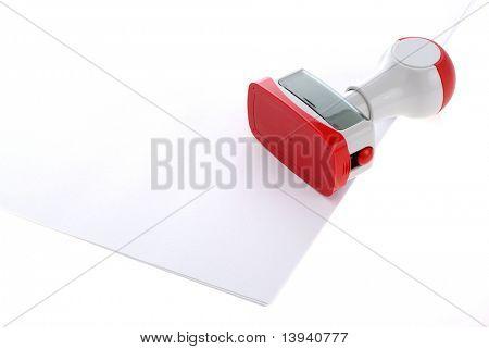 Kunststoff Stempel über Whitepaper