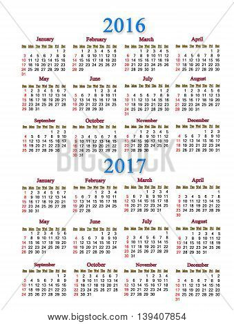office calendar for 2016 - 2017 years on white background. Calendar for two years for office using