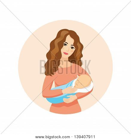 Young beautiful mother holding sleeping baby - vector icon. Motherhood and love conception.