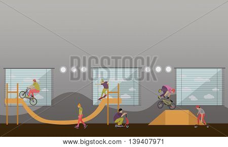 Vector set of skate park banners. Outdoor and indoor parks with ramp for skaters and rollers.