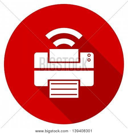 printer red vector icon, circle flat design internet button, web and mobile app illustration