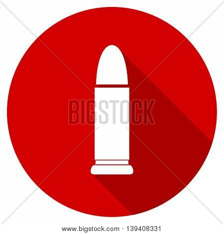 ammunition red vector icon, circle flat design internet button, web and mobile app illustration