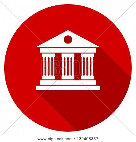 museum red vector icon, circle flat design internet button, web and mobile app illustration