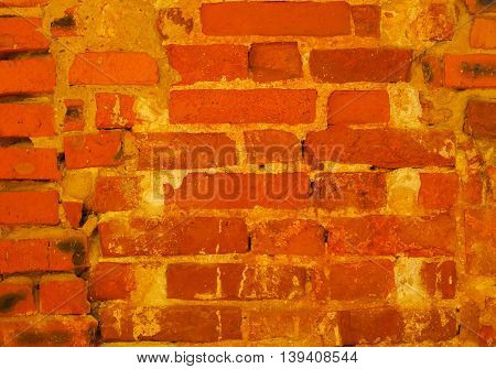 Terracotta brick texture close-up, old detailed rough grunge textured space background. With place for your text