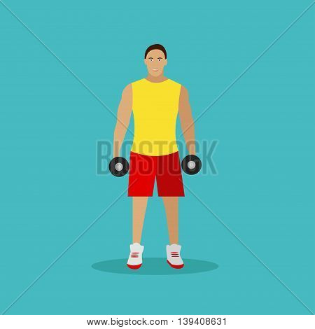 Healthy lifestyle concept vector illustration in flat style. Fitness and sport equipments. Man with dumbbells. Gym design elements and icons.