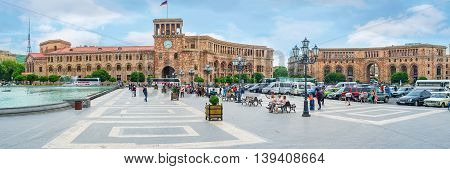 YEREVAN ARMENIA - MAY 29 2016: Panorama of Republic Square with the buildings made of rose and white Armenian tufa stones on May 29 in Yerevan.