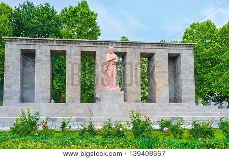 YEREVAN ARMENIA - MAY 29 2016: The monument to Stepan Shaumian - the Bolshevik revolutionary and politician active known as