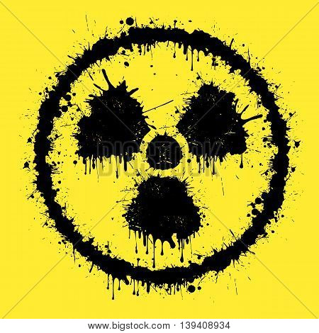 sign of radiation from blots on a yellow background. Vector illustration