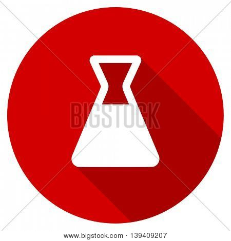 laboratory red vector icon, circle flat design internet button, web and mobile app illustration