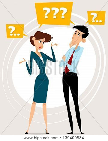 Vector illustration of a two workers with questions