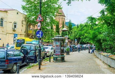 TBILISI GEORGIA - MAY 28 2016: The street of Kote Abkhazi is one of he interesting historical sites with many landmarks including religious on May 28 in Tbilisi.