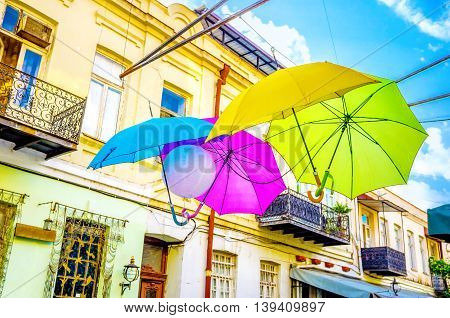 The colorful umbrellas decorated the tourist street in Tbilisi Georgia.