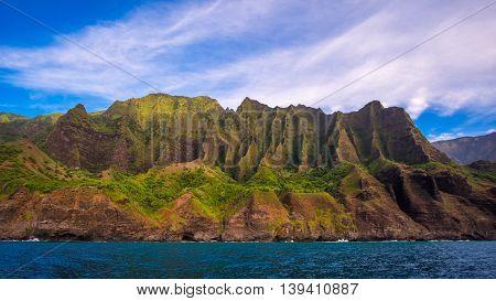 Landscape View Of Spectacular Na Pali Coastline, Kauai