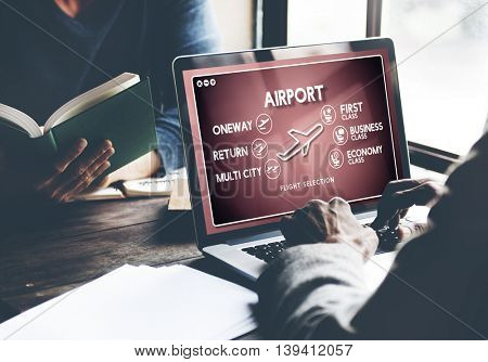 Airport Flight Ticket Selection Transportation Concept