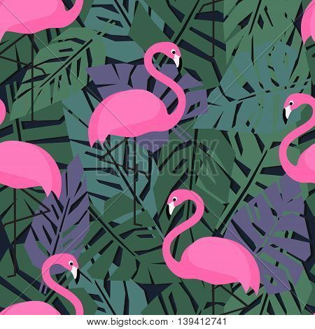 Tropical trendy seamless pattern with pink flamingos on dark palm leaves background. Exotic Hawaii art background. Design for fabric and decor.