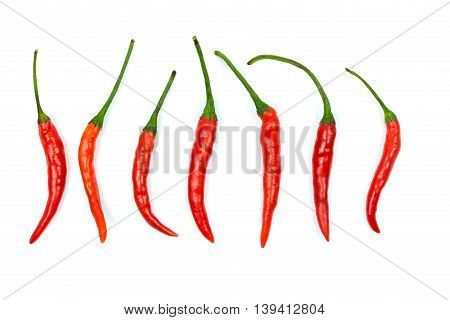Top view of red chilli peppers on white background