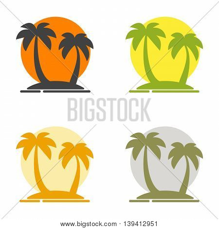 Summer set of logos depicting the silhouette of palm trees on the island and the sun. Paradise place to vacation. Colored vector illustration for a travel agency. Isolated flat images