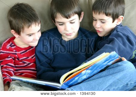 Three Boys Reading