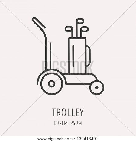 logo or label golf. Line style logotype template with trolley. Easy to use business template. Vector abstract logo or emblem.