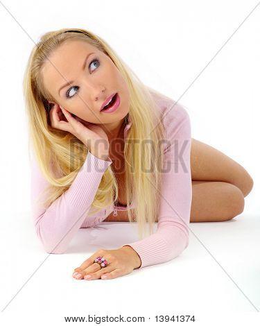 Schöne junge Frau Stock lächelnd Handauflegen. Im Studio gedreht, weiß.