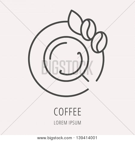 logo or label Coffee. Line style logotype template with coffee break. Easy to use business template. Vector abstract logo or emblem.