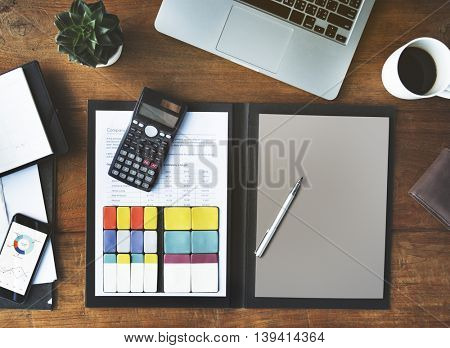 Accounting Analysis Digital Devices Workspace Concept