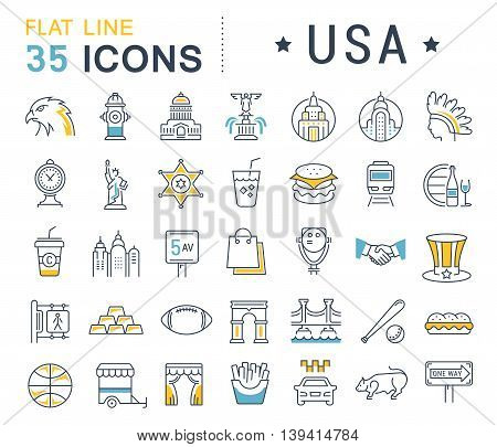 Set vector line icons in flat design USA New York and America with elements for mobile concepts and web apps. Collection modern infographic logo and pictogram.