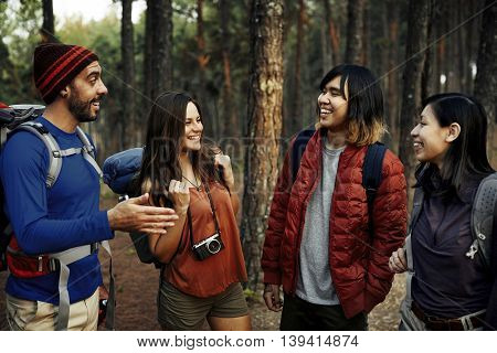 Camping Backpacker Talking Friendship Togetherness Concept