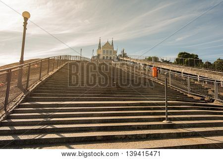 382 steps are carved in rock on which stands Penha Church in Rio de Janeiro