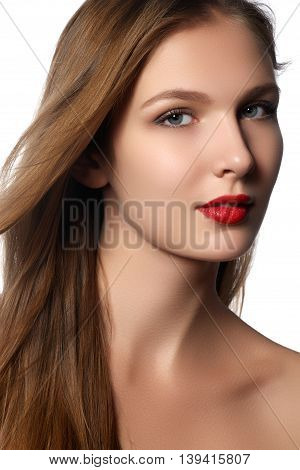 Fashion Model Girl Portrait With Long Blowing Hair. Glamour