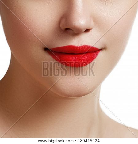 Sexy Lips. Beauty Red Lips Makeup Detail. Beautiful Make-up