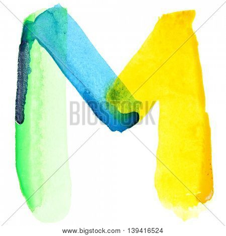 Letter M - Vivid watercolor alphabet. Colours resemble flag of Brazil