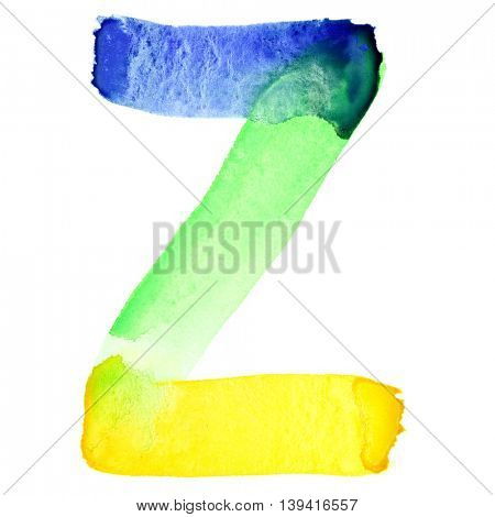 Letter Z - Vivid watercolor alphabet. Colours resemble flag of Brazil