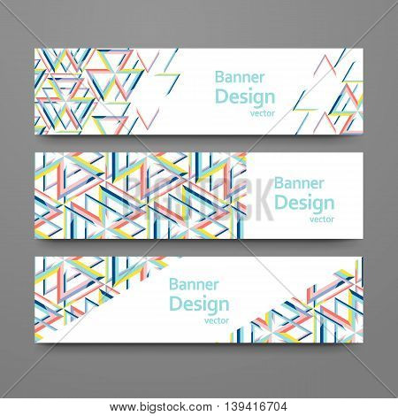 Set of abstract geometric banners. Vector templates with place for your text. Creative modern design with triangle pattern.