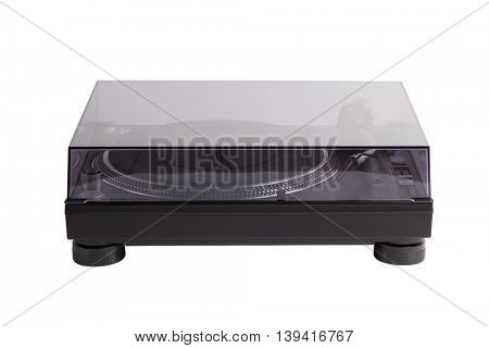professional dj turntable with glass cover, isolated on white