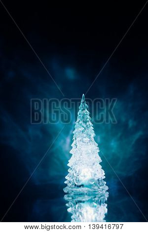 Christmas tree lamp blue light with reflection