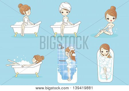 cartoon woman is taking a bath in the bathroom